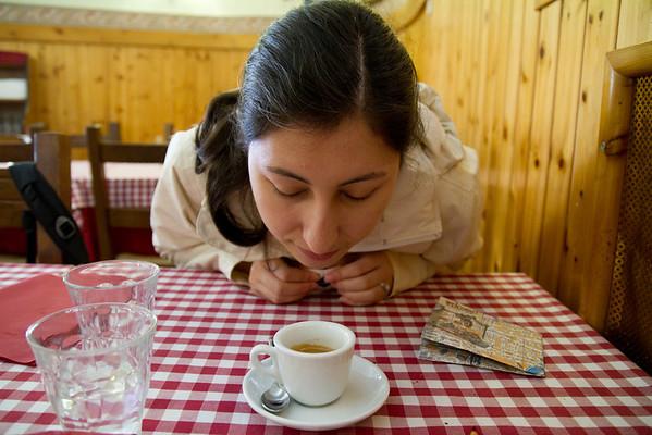 Nina's first (of many) espresso.